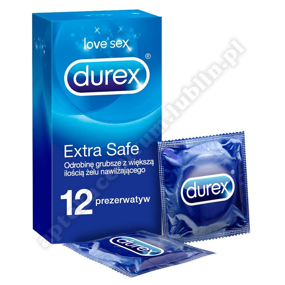 Durex prezerwatywy Extra Safe 12 szt grubsze nawilżane+breloczek do kluczy
