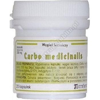 Carbo medicinalis kaps.twarde 0,2g 20 kapsułek