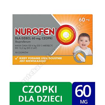 Nurofen dla dzieci czopki ibuprofen 60 mg leki przeciwbólowe od 3 miesiąca życia 10 szt