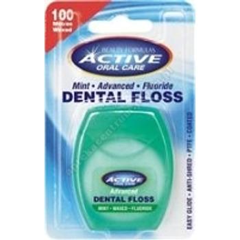 Nici dentystyczne ACTIVE ADVENCED udoskonalone,miętowe,woskowane 100m(zielone)