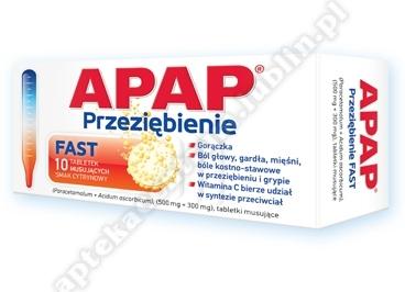 Apap Przeziębienie FAST x 10 tabl musuj.sm. cytrynowy