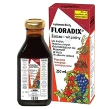 FLORADIX Żelazo i witaminy tonikb/alkoh. 250 ml (but.szkl.)