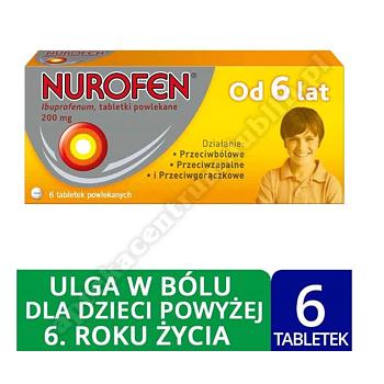 Nurofen dla dzieci ibuprofen 200 mg tabletki powlekane 6 szt leki przeciwbólowe od 6 lat