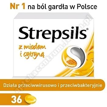 Strepsils tabletki do ssania na ból gardła z Miodem i Cytryną 36 pastylki