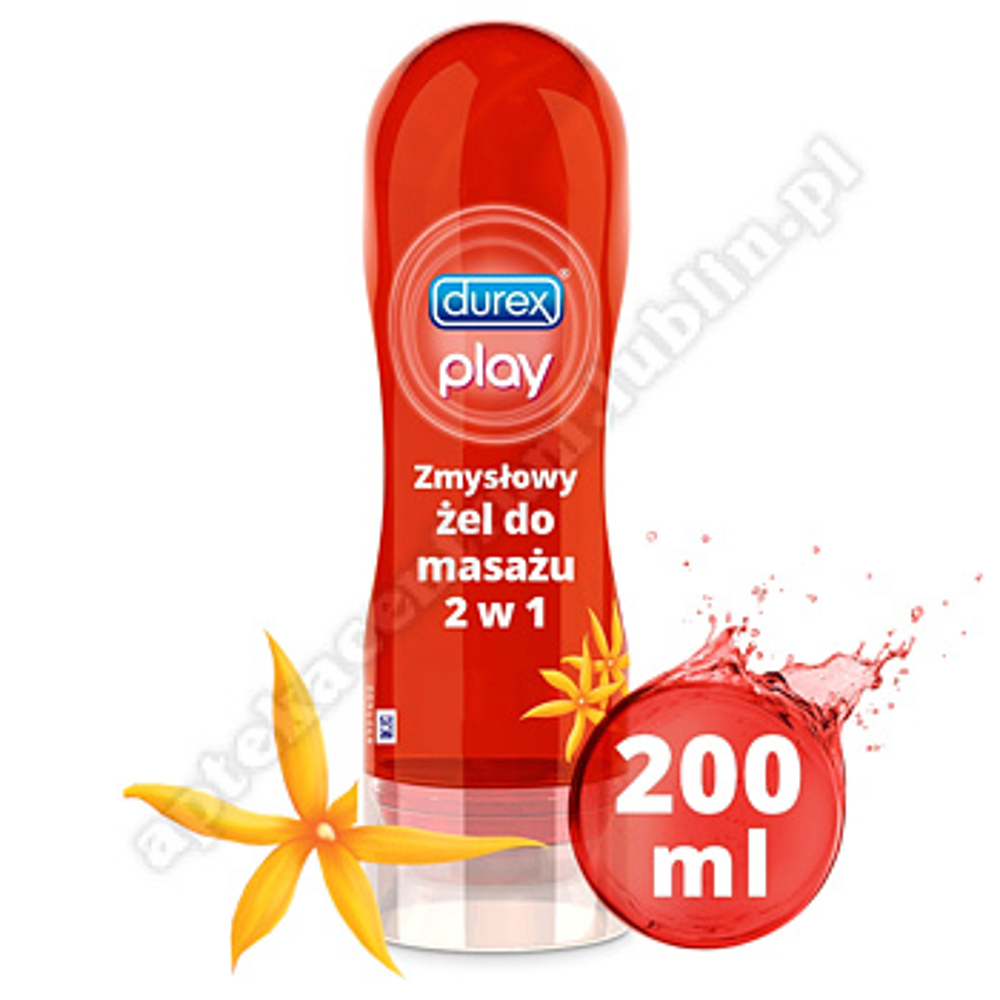 Durex Play Zmysłowy Żel do masażu 2 w 1 z kwiatem Ylang Ylang 200 ml+breloczek do kluczy