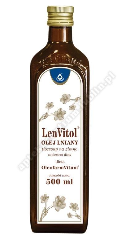 LenVitol olej lniany budwigowy płyn 500ml TYLKO ODBIÓR OSOBISTY - NIE WYSYŁAMY