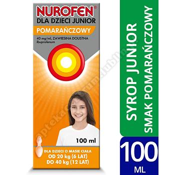 Nurofen dla dzieci Junior pomarańczowy leki przeciwbólowe 100 ml ibuprofen