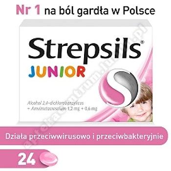 Strepsils tabletki na ból gardła dla dzieci Junior 24 pastylki od 6 lat
