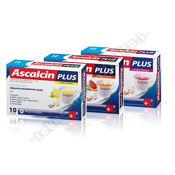 Ascalcin Plus o smaku malinowym proszek musujący 20 sasz.