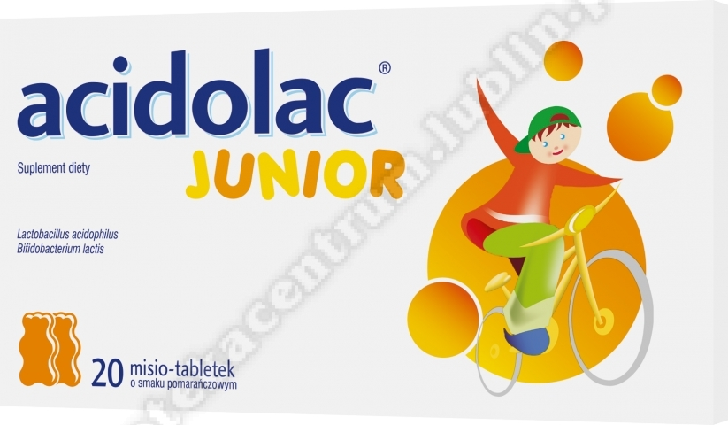 Acidolac Junior o smaku pomarańczowym 20 tabletek
