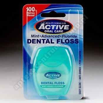 Nici dentystyczne ACTIVE ADVENCED udoskonalone miętowe woskowane 100m