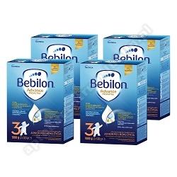 Bebilon 3 z Pronutra Mleko 1100G X 4 SZTUKI + PAMPERS CHUSTECZKI SENSITIVE 56 SZTUK