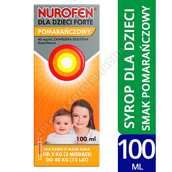 Nurofen dla dzieci Forte ibuprofen zawiesina 200 mg na 5 ml o smaku pomarańczowym 100 ml
