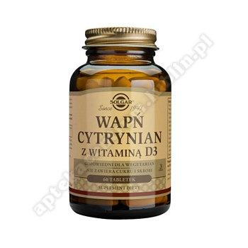 SOLGAR Wapń cytrynian z witaminą D3 60 tabletek