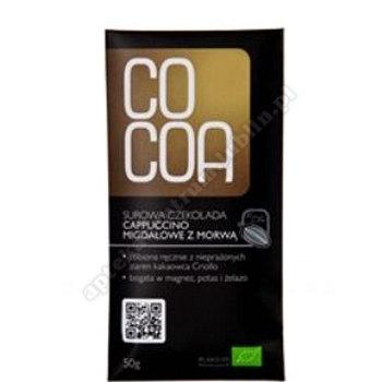 Czekolada surowa cappucino migdałowe z morwą BIO 50g COCOA