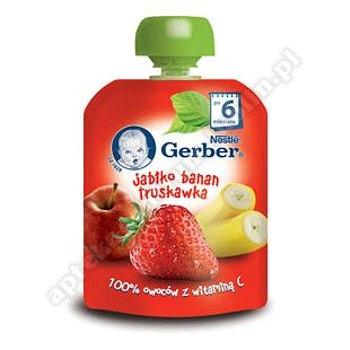 GERBER Deser jabłko banan truskawka po 6 miesiącu - 90 g