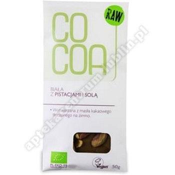 Czekolada biała z pistacjami i solą bio 50g COCOA