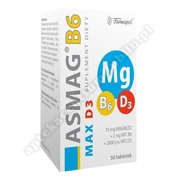 Asmag B6 Max D3 tabl. 50 tabl.
