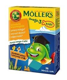 Mollers Omega-3 Rybki Pomarańczowo-cytrynowe, 36 sztuk