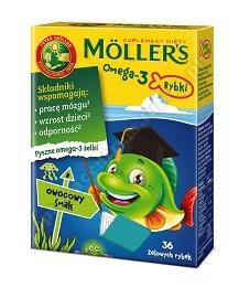 Mollers Omega-3 Rybki Owocowy smak żelki 36 sztuk