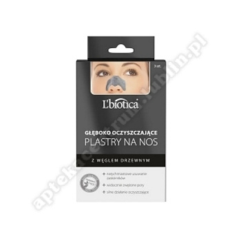 L'BIOTICA Plastry n/nos głęb. oczyszczające z węglem drzewnym, 3 sztuki