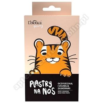 L'BIOTICA Plastry oczyszczające i odblokowujące pory na nos, tygrys, 3 sztuki