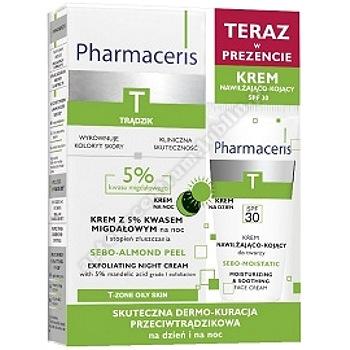 PHARMACERIS T Zestaw  SEBO-ALMOND peel krem 5 % +krem SPF 30 nawil,kojacy 20ml