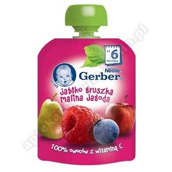 Gerber Deser jabłko gruszka malina jagoda po 6 miesiącu - 90 g