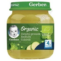 GERBER ORGANIC Zielony groszek Brokuły Cukinia po 4 miesiącu - 125 g