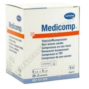 Kompresy MEDICOMP 5 x 5cm z wlókna jałowego 2x25
